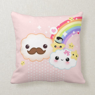 Kawaii cloud couple with rainbow and stars throw cushions
