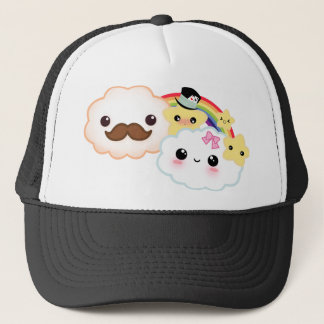 Kawaii cloud couple with rainbow and stars trucker hat
