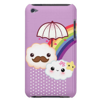 Kawaii cloud couple with rainbow and umbrella iPod touch covers