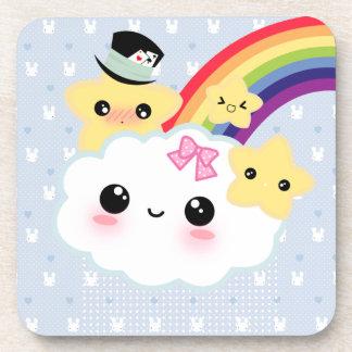 Kawaii cloud stars and rainbow beverage coaster