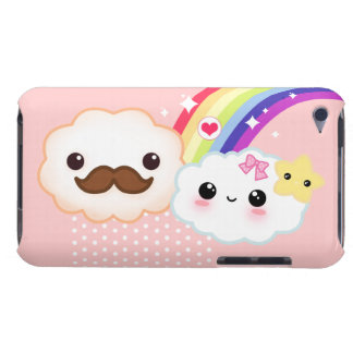 Kawaii clouds with rainbow and stars on pink barely there iPod cover