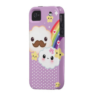 Kawaii clouds with rainbow and stars on purple iPhone 4 covers