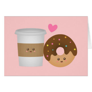 Kawaii Coffee and Donut in love, Perfect Pair Greeting Card
