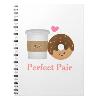 Kawaii Coffee and Donut in love, Perfect Pair Notebook