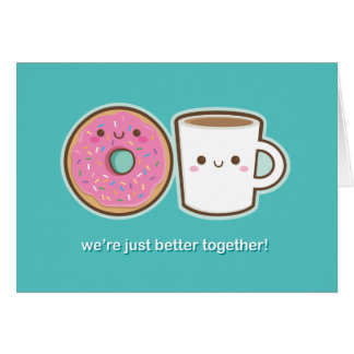 Kawaii Coffee & Doughnut Card
