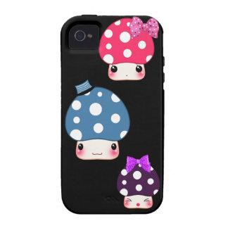 Kawaii colorful mushrooms vibe iPhone 4 case