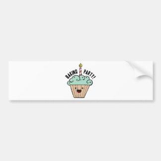 Kawaii Cupcake Baking Party Bumper Sticker