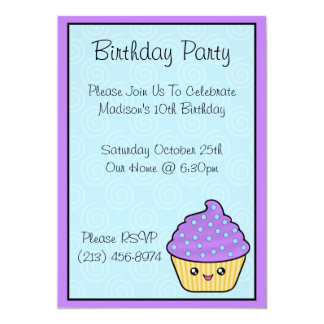 Kawaii Cupcake Birthday Party Invitations