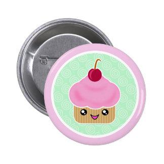Kawaii Cupcake Cherry Pinback Buttons