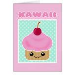 Kawaii Cupcake Cherry Candy Greeting Card