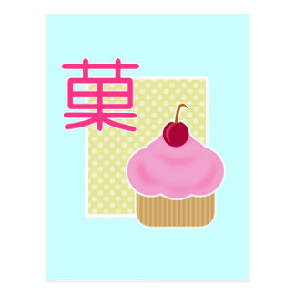 Kawaii Cupcake Cherry Candy Postcard