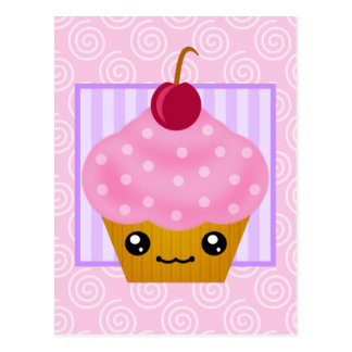 Kawaii Cupcake Cherry Postcard