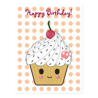 "Kawaii Cupcake in Polka Dots ""Happy Birthday"" Postcard"