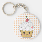 Kawaii Cupcake in Polka Dots Key Ring