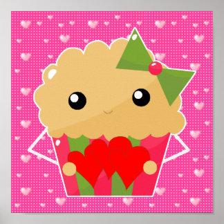 Kawaii Cupcake Muffin Holding Hearts Poster