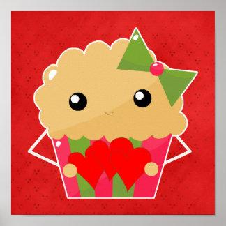 Kawaii Cupcake Muffin Holding Hearts Print