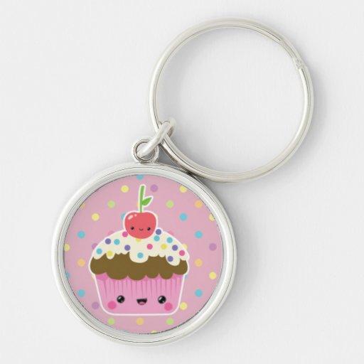 Kawaii Cupcake on Colourful Polka Dots Silver-Colored Round Key Ring