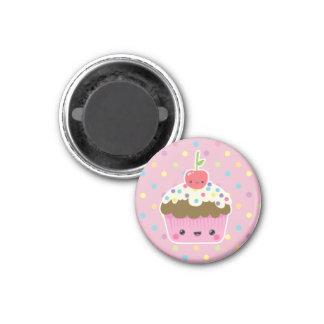 Kawaii Cupcake on Colourful Polka Dots Magnets