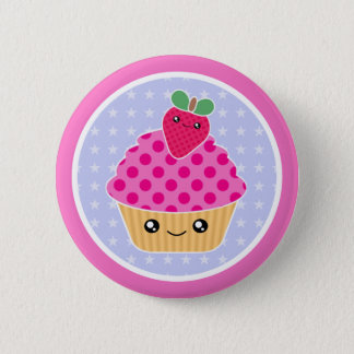 Kawaii Cupcake Strawberry 6 Cm Round Badge