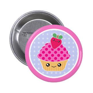 Kawaii Cupcake Strawberry 6 Cm Round Badge
