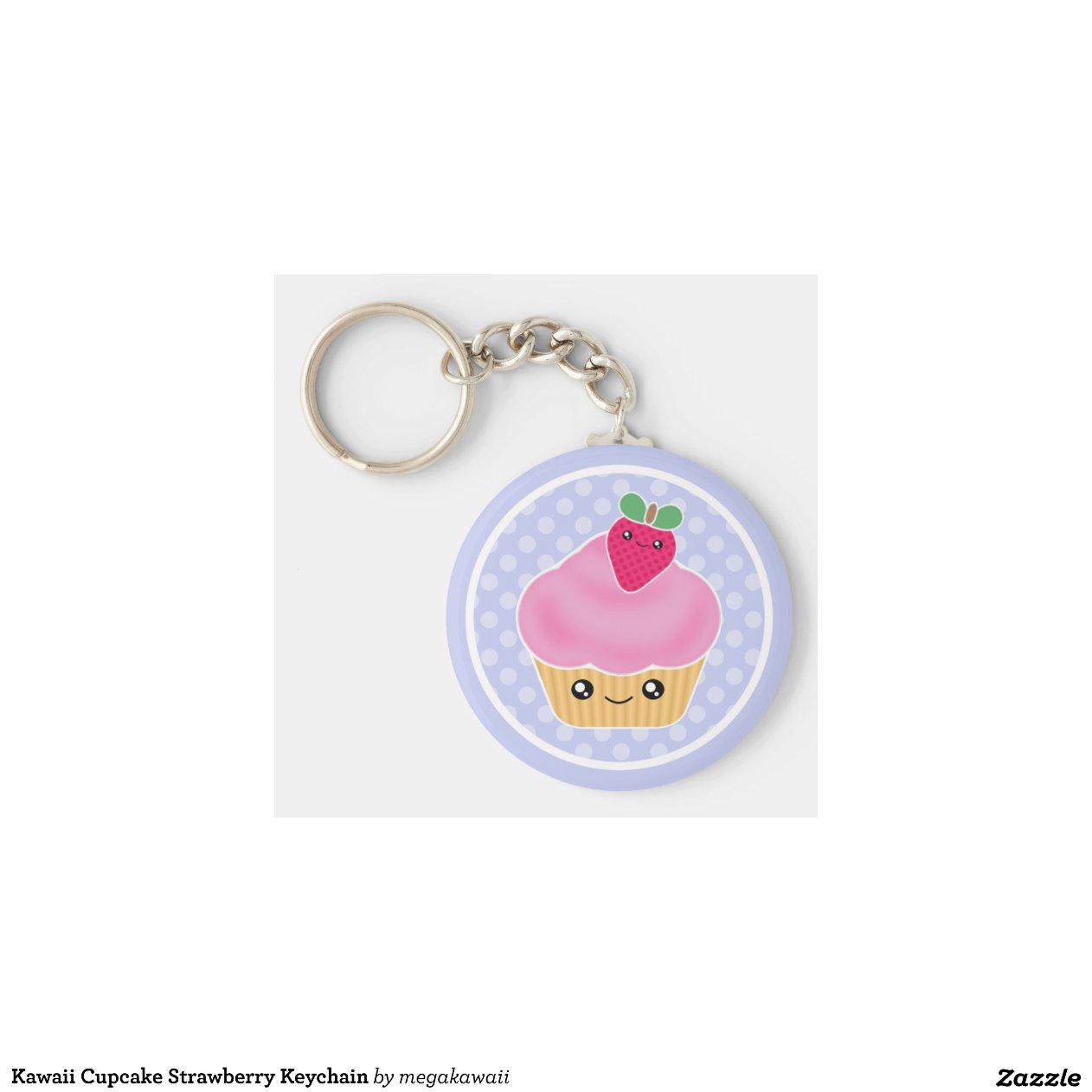 Kawaii Amigurumi Cupcake Keychain : Kawaii Cupcake Strawberry Keychain Zazzle