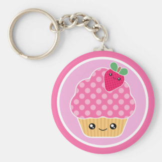 Kawaii Cupcake Strawberry Keychain