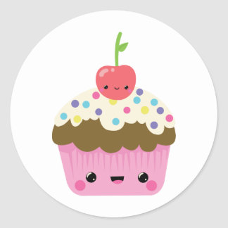 Kawaii Cupcake with Cherry on Top Classic Round Sticker