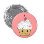 Kawaii Cupcake with Pink Sugar Skull and Cherry 3 Cm Round Badge