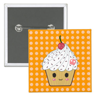 Kawaii Cupcake with Pink Sugar Skull and Cherry 15 Cm Square Badge