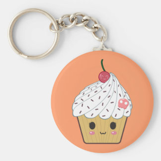 Kawaii Cupcake with Pink Sugar Skull and Cherry Key Ring