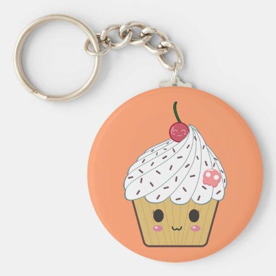 Kawaii Cupcake with Pink Sugar Skull and Cherry Key Ring