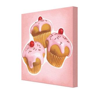 Kawaii cupcakes stretched canvas print