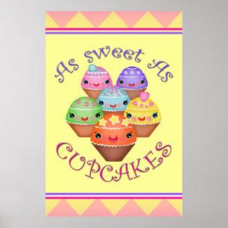 Kawaii Cupcakes Girl s Bedroom Art Poster Print