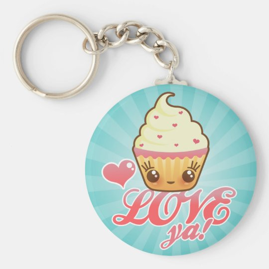 Kawaii Cuppy Cake Basic Round Button Key Ring