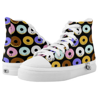 Kawaii Cute and Funny Donuts Collage Pattern High Tops