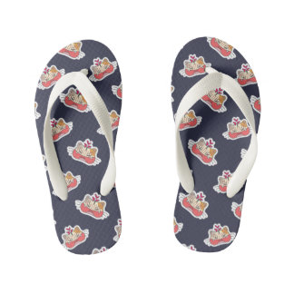 Kawaii Cute Angry Little Kitty Kitten. Kid's Flip Flops