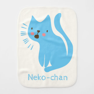Kawaii Cute Blue Cat. Add Baby's Name. Burp Cloth