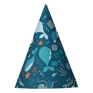 Kawaii Cute Blue Whales and Sea Life. Party Hat