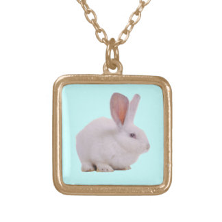 Kawaii Cute Bunny Rabbit Square Pendant Necklace