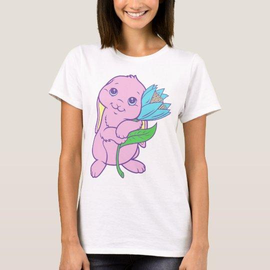Kawaii Cute Cartoon Bunny Rabbit Flower T-Shirt