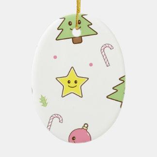 Kawaii Cute Christmas Design Ceramic Oval Decoration