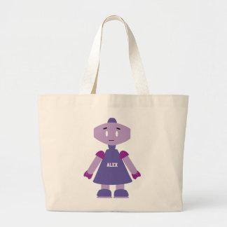 Kawaii Cute Colorful Robot Large Tote Bag