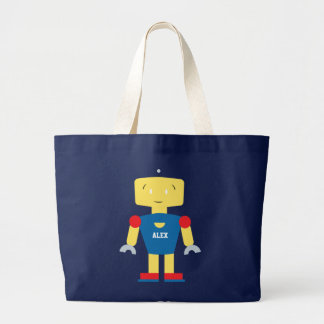 Kawaii Cute Colorful Robot Large Tote Bag