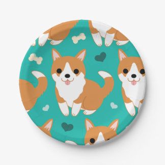Kawaii Cute Corgi dog simple illustration pattern 7 Inch Paper Plate