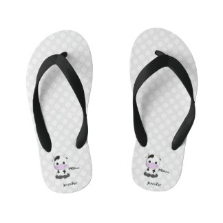 Kawaii cute cow cartoon kids flip flops with name