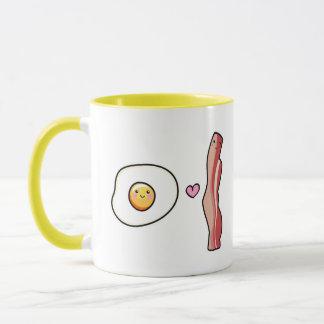 Kawaii Cute egg loves bacon mug