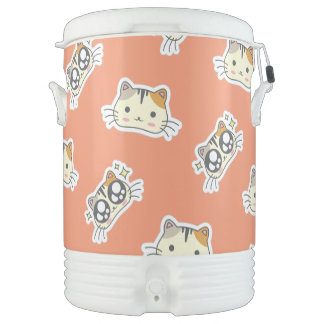 Kawaii Cute Excited Little Kitty Kitten Cat. Drinks Cooler