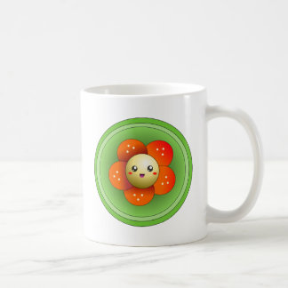 Kawaii Cute Happy Flower Basic White Mug