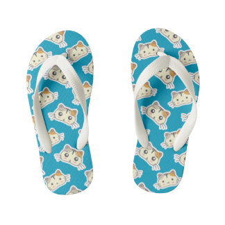 Kawaii Cute Happy Little Kitty Kitten. Flip Flops