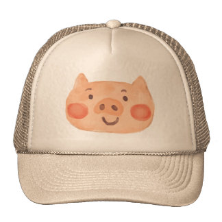 Kawaii Cute Happy Little Piggy. Cap